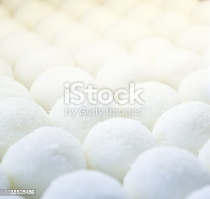 Close up of sweet white balls with coconut flavour displayed in patisserie