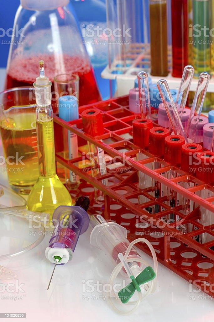 close up of syringe with test tube royalty-free stock photo