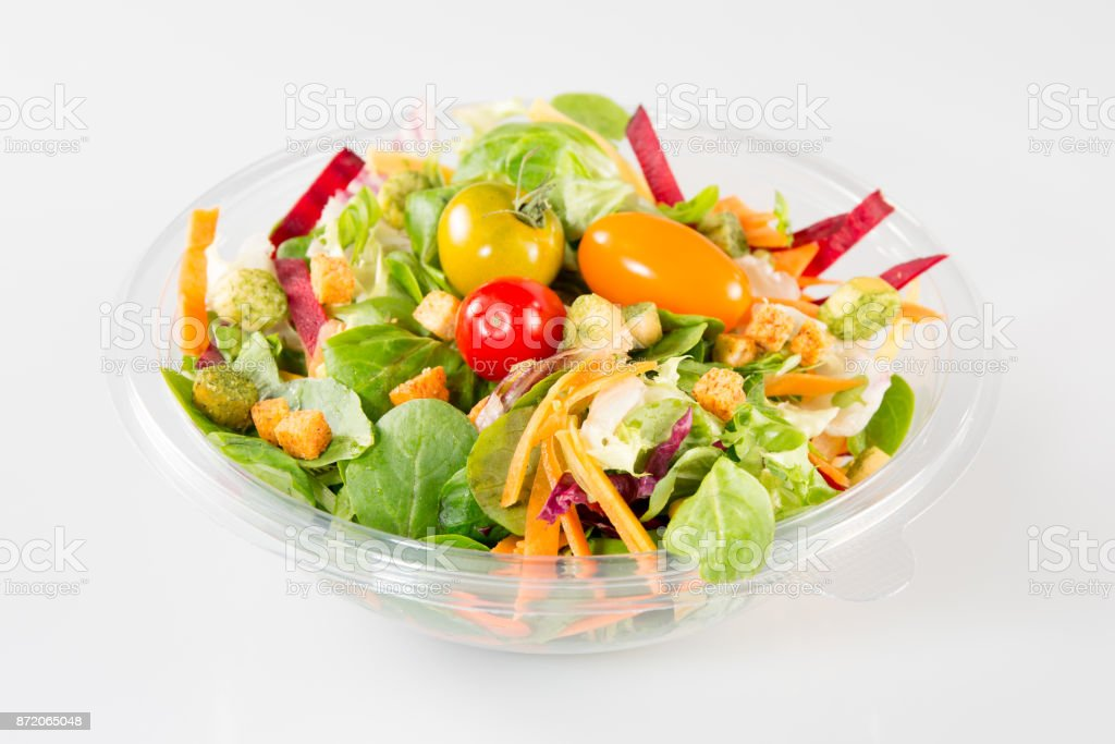 Close up of take away bowl with fast food salad stock photo