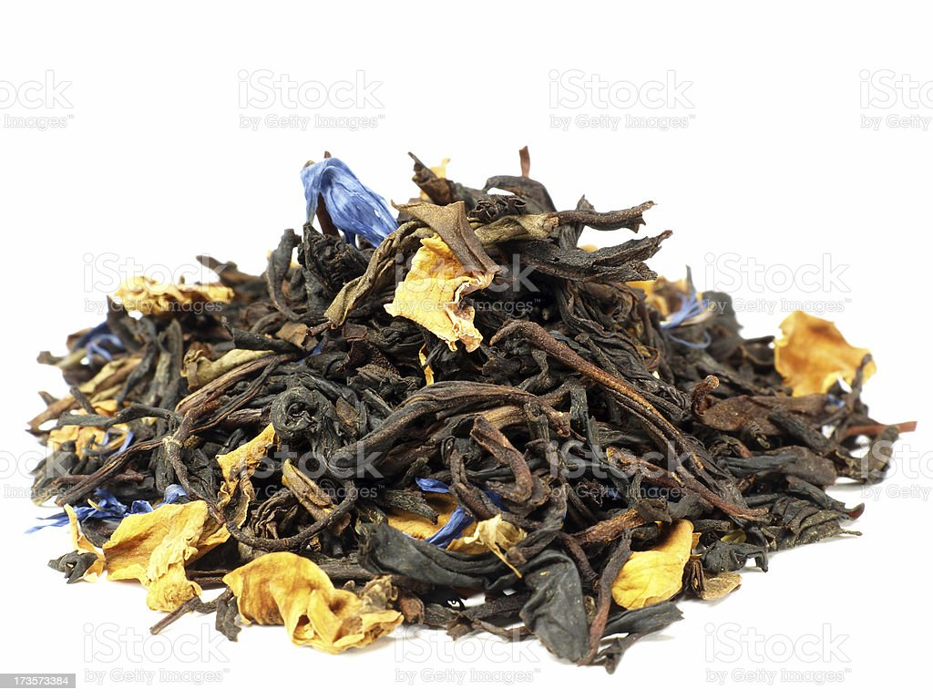 close up of tealeaves isolated on white royalty-free stock photo
