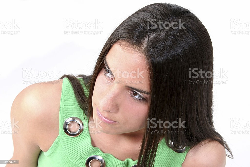 Close Up Of Teen With Serious Expression royalty-free stock photo
