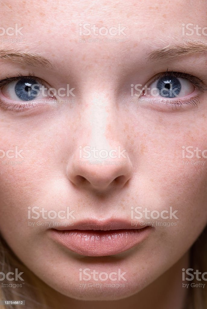 Close up of teenage girls face stock photo