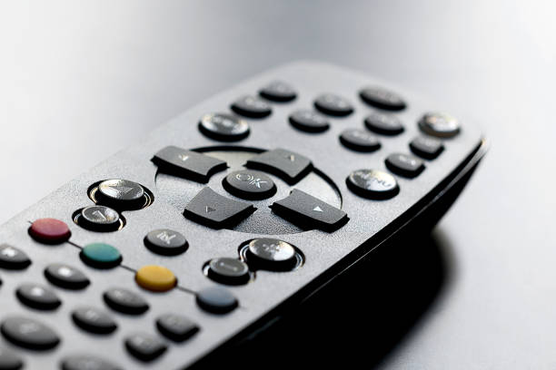 Close up of television remote control with number pad stock photo