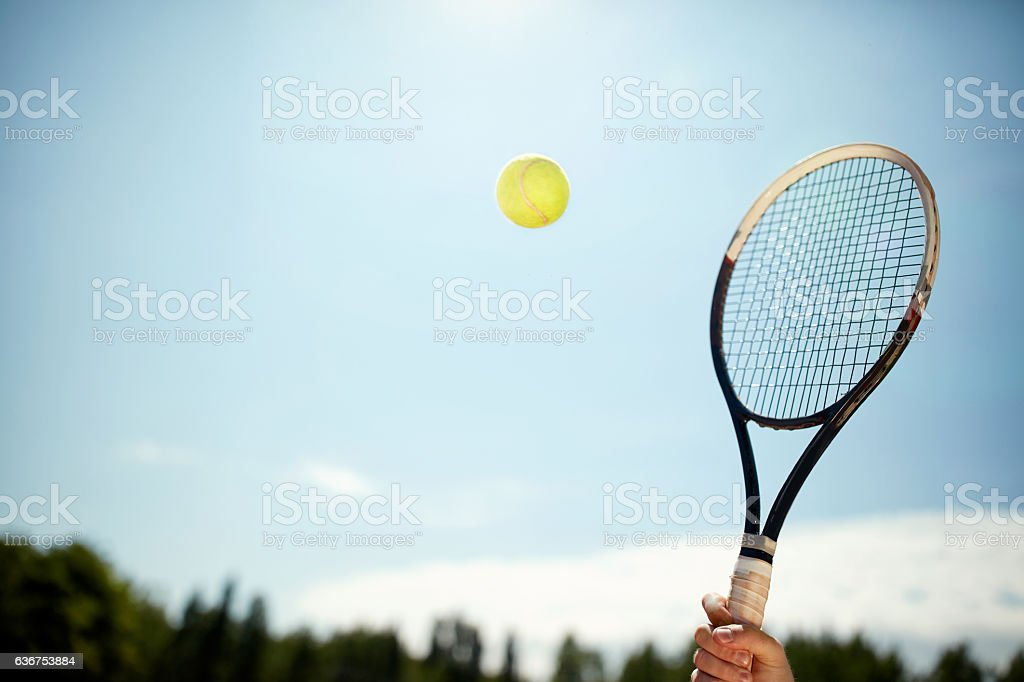 Close up of tennis racket and ball stock photo