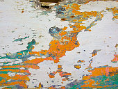 Vintage painted wooden background. Old wooden painted rustic fence.