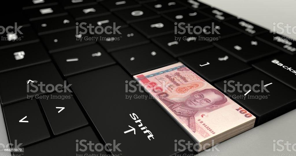 關閉泰國100浴按鈕。 免版稅 stock photo