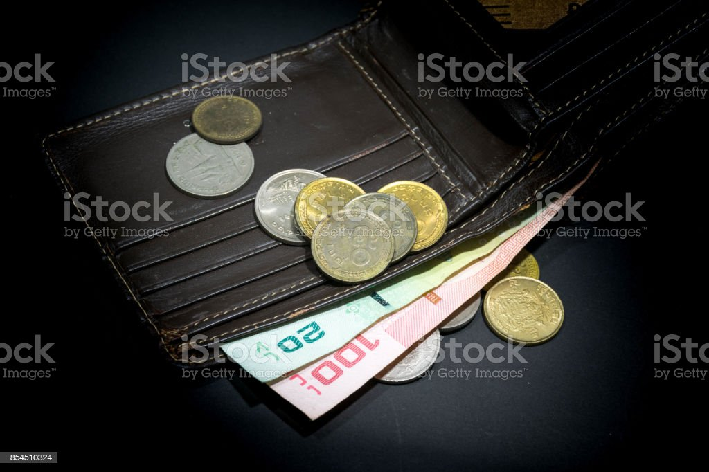 Close up of Thailand money bath with  wallet on white background - Banknote and coins stock photo