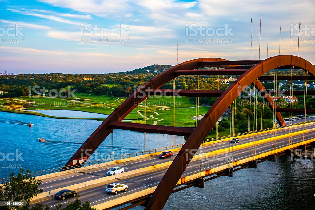 Close Up of the 360 Bridge or Pennybacker Bridge stock photo