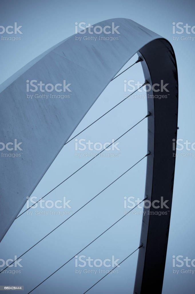 Close up of the arch of Gateshead, Millennium Bridge stock photo