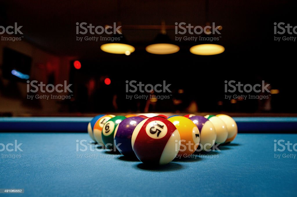 close up of the balls on pool table stock photo