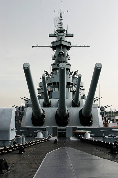 Close up of the battleship USS Alabama stock photo