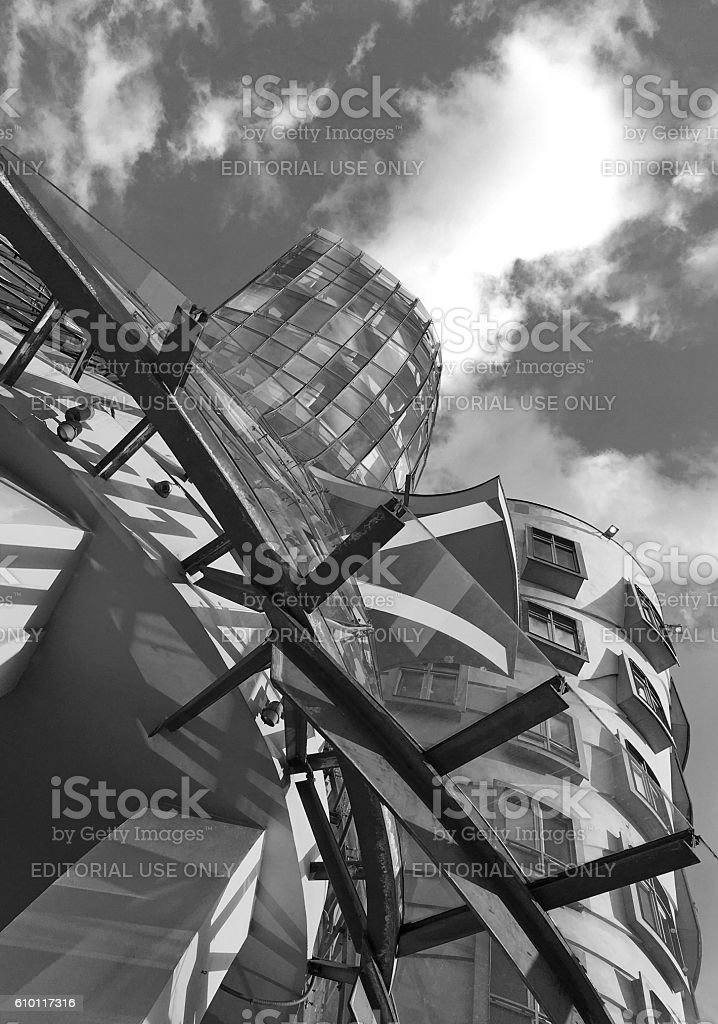 Close up of The Dancing House stock photo