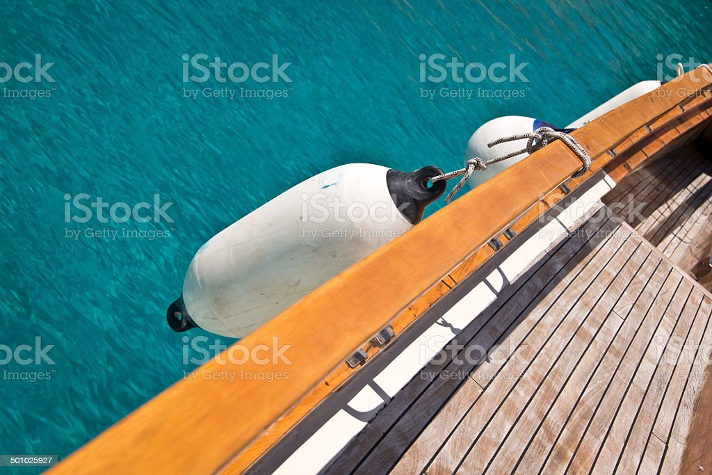 Close up of the deck of a sailboat stock photo