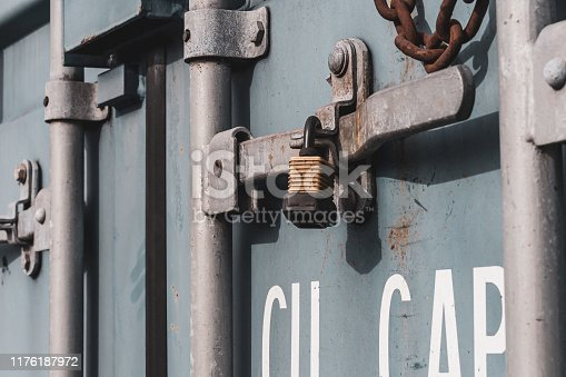 istock Close up of the doors of a shipping container 1176187972