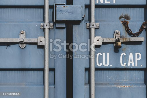 istock Close up of the doors of a shipping container 1176188026
