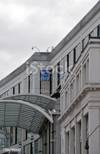 Leeds, West Yorkshire, United Kingdom - 22 October 2020: close up of the east entrance of the Trinity shopping centre in Leeds