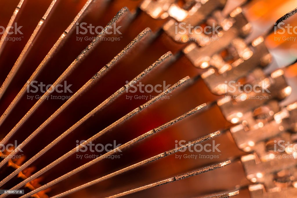 Close up of the edges of  CPU computer heat sink. stock photo