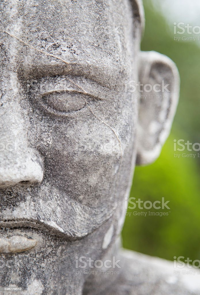 Close up of the face of stone statue foto royalty-free