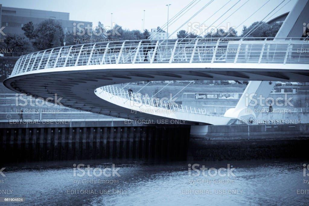 Close up of the footpath over Gateshead's Millennium Bridge stock photo