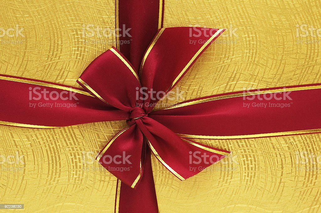 Close up of the gift box with red ribbon royalty-free stock photo