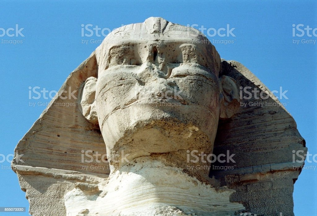 Close up of The Great Sphinx of Giza stock photo