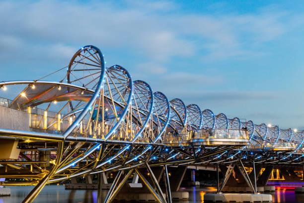 Close up of the helix bridge in marina bay, Singapore. stock photo