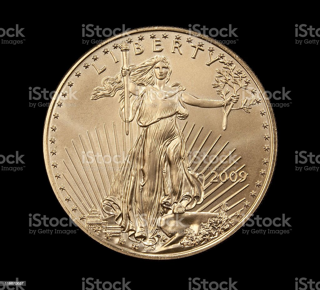 Close up of the Liberty side gold coin royalty-free stock photo