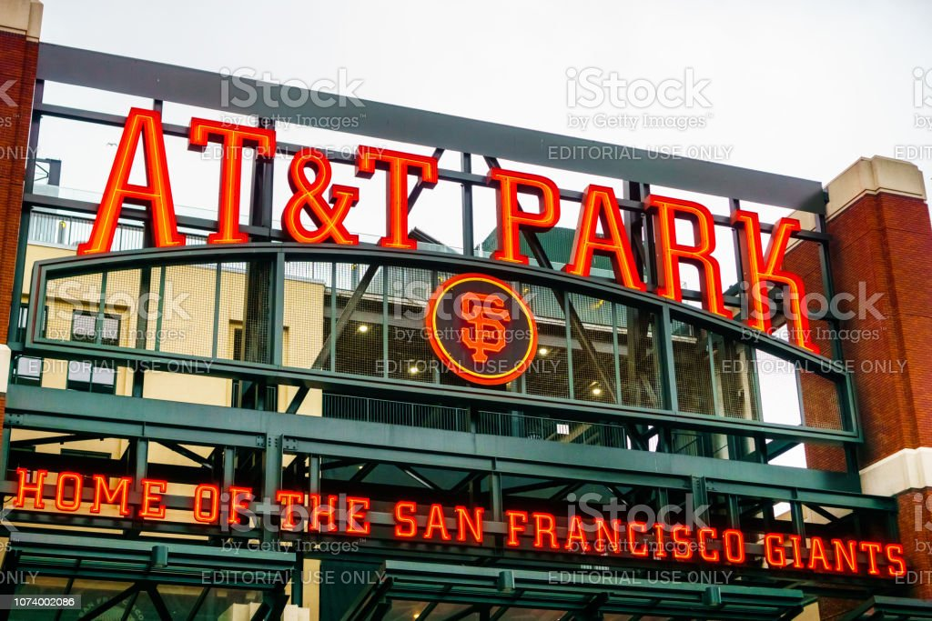 Close up of the logo of the AT&T Park stock photo