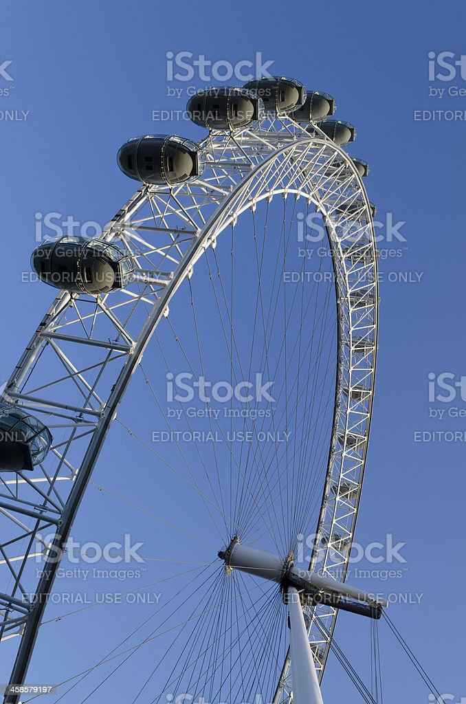 Close up of the London Eye, South Bank. stock photo