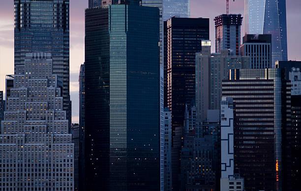 Close up of the Manhattan Skyline of New York City stock photo