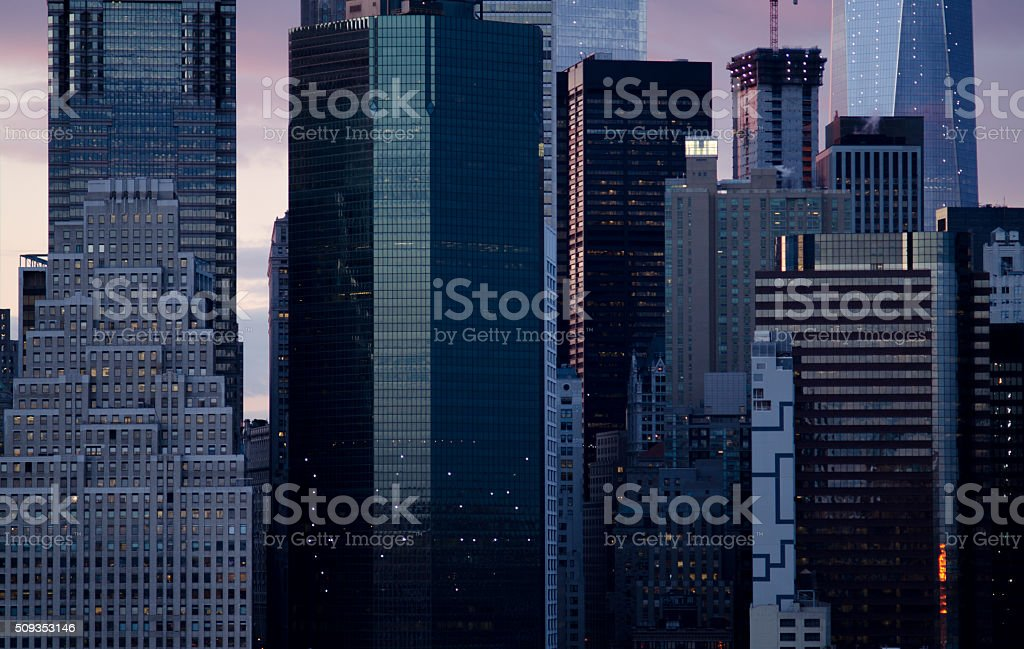 Close up of the Manhattan Skyline of New York City stock photo