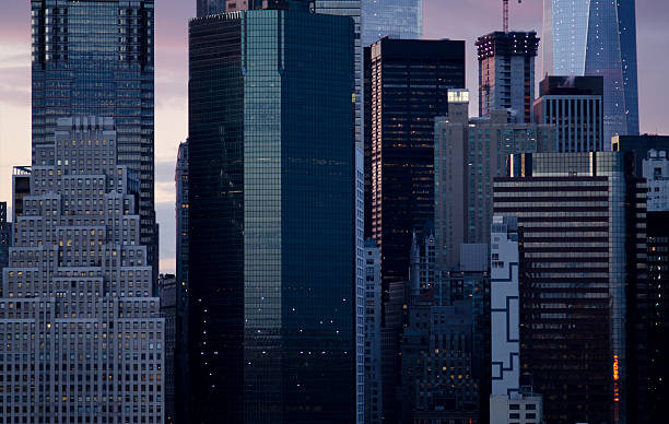 close up of the manhattan skyline of new york city - wall street lower manhattan stock pictures, royalty-free photos & images