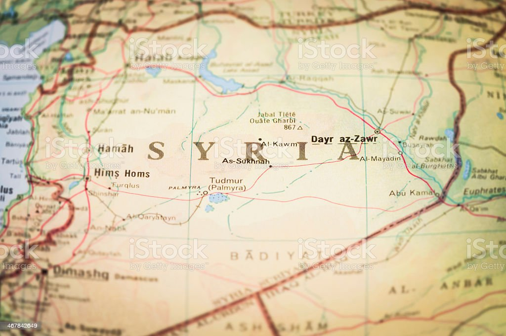 A close up of the map of Syria stock photo