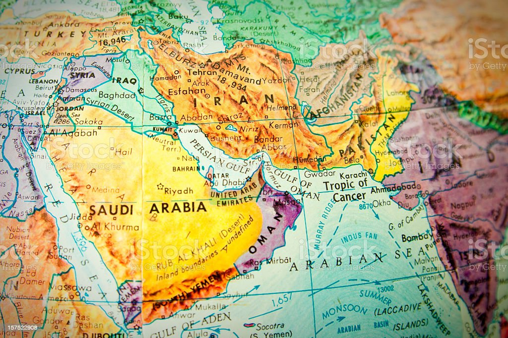 Close up of the middle east on a world globe stock photo