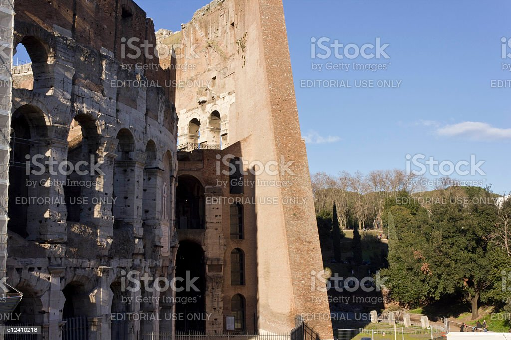 Close up of the outer and inner walls of Colosseum stock photo