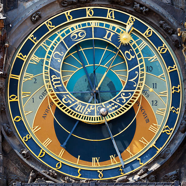 Close up of the Prague Astronomical clock Prague Astronomical Clock is a historic landmark in Prague. Medieval clock tower mounted on the southern wall of Old Town Hall Tower at the Old Town Square in Prague. The clock shows the years, months, days and hours, the time of sunrise and sunset, sunrise and moonset, and the position of the signs of the zodiac. astronomical clock prague stock pictures, royalty-free photos & images