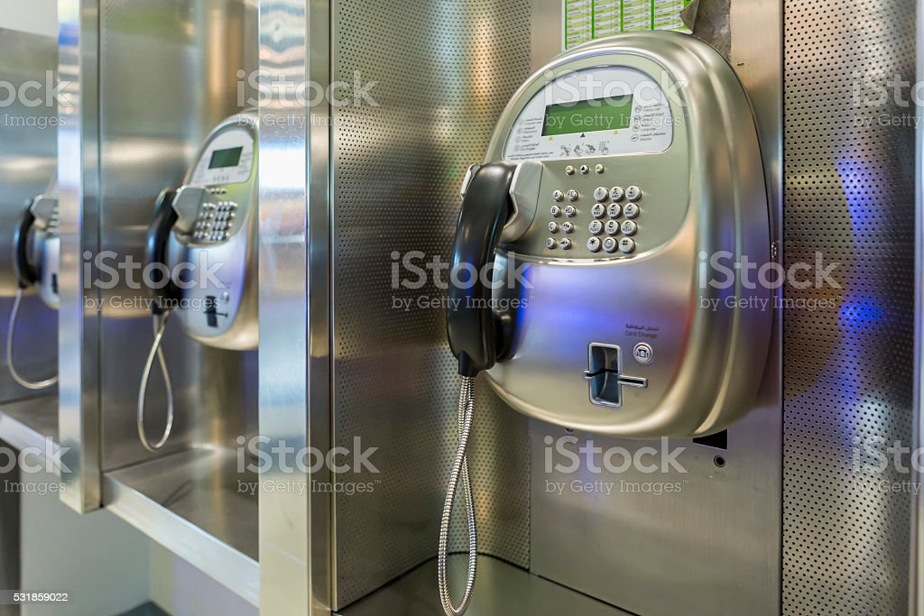 close up of the public pay phone stock photo