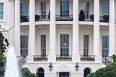 Close up of the rear facade of the White House at Washington DC, USA.