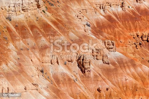 Close up of the rippled red and orange sandstone and hoodoo rock formations of Bryce Canyon, USA.