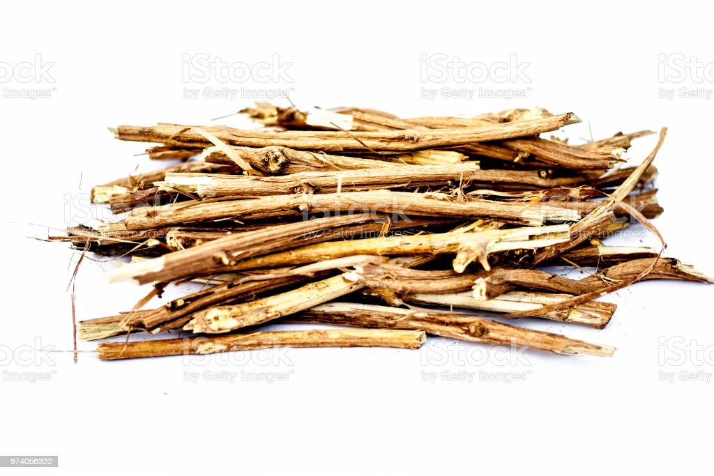 Close up of the roots of Ashwagandha plant isolated on white essential beneficial for hair loss,gives strength. stock photo