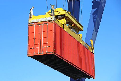 Close up of the shipment of a container
