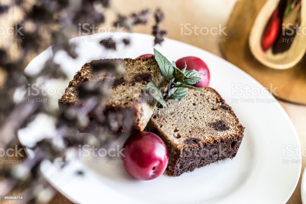 Close up of the slices of cake stock photo