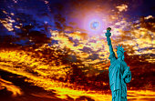 Close up of the statue of liberty panorama with at sunset Independence day