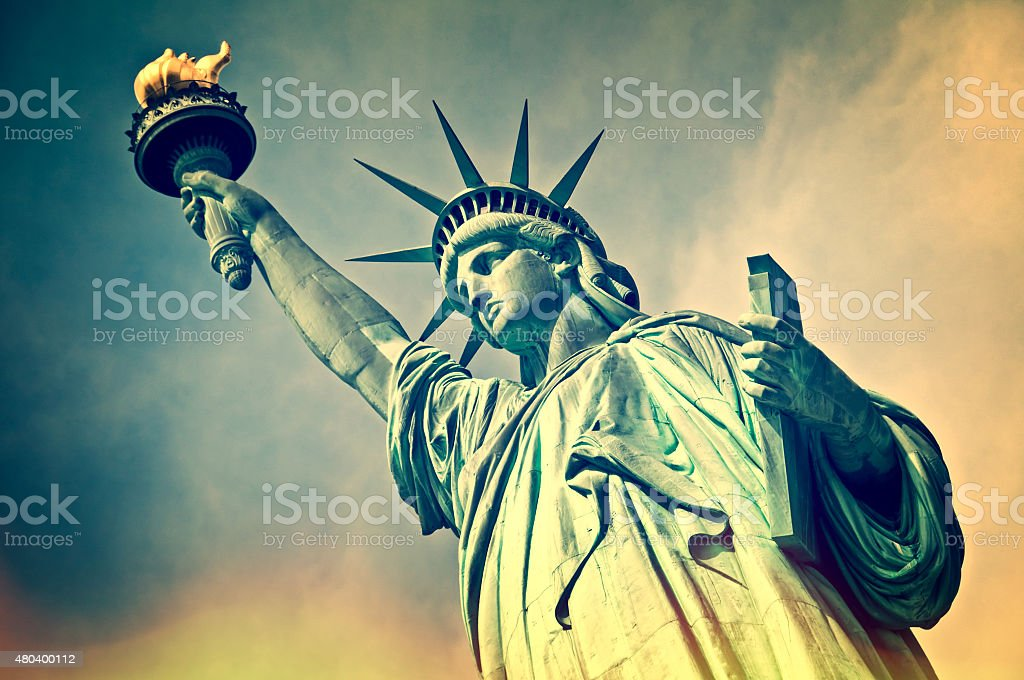 Close up of the statue of liberty, vintage process stock photo