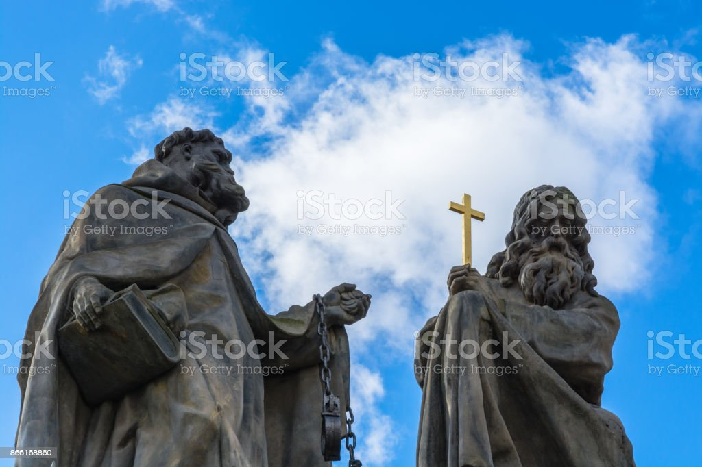 Close up of the Statues of John of Matha, Felix of Valois and Saint Ivan on Charles Bridge in Prague stock photo