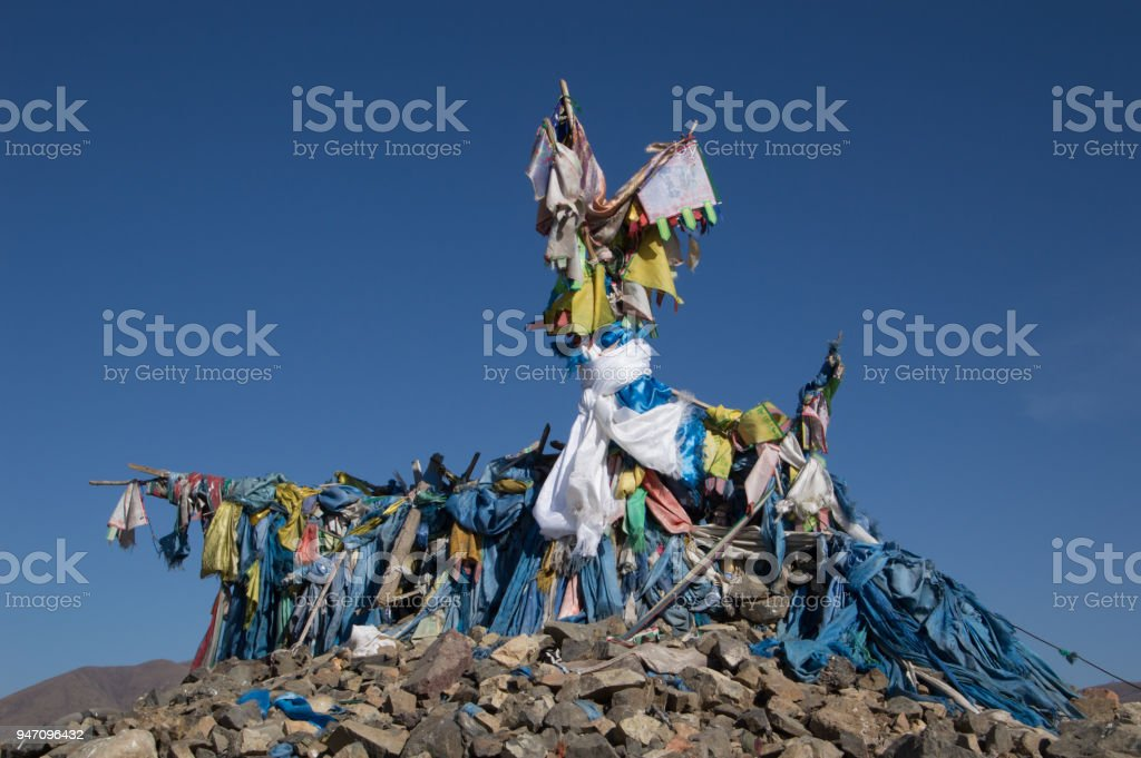 Close Up of the Top of an Obo in Mongolia stock photo