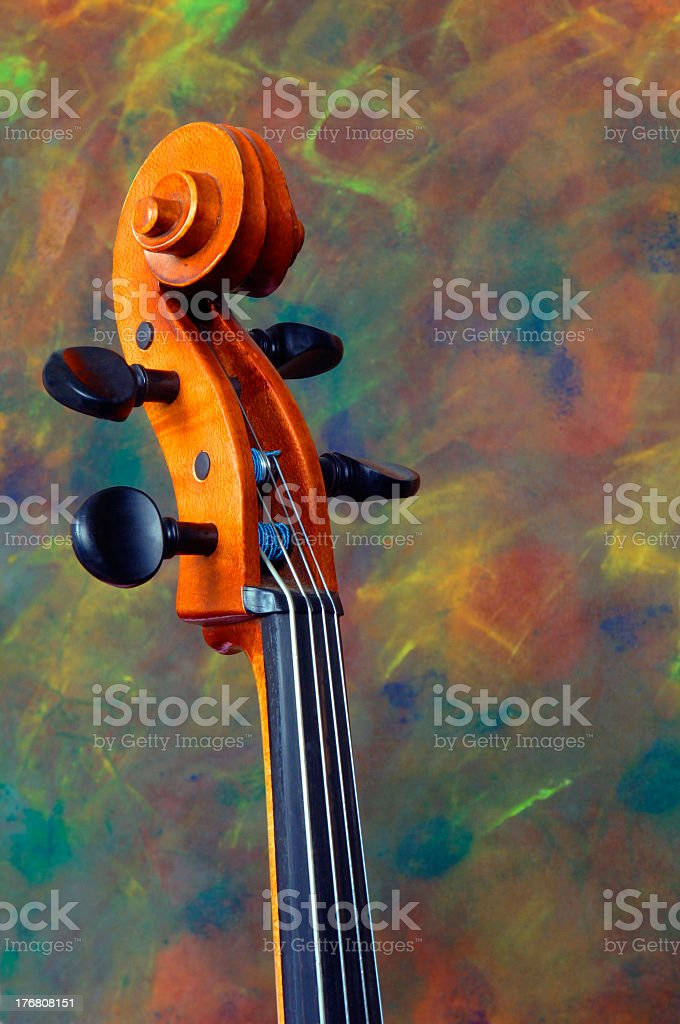 Close up of the top part of a cello stock photo