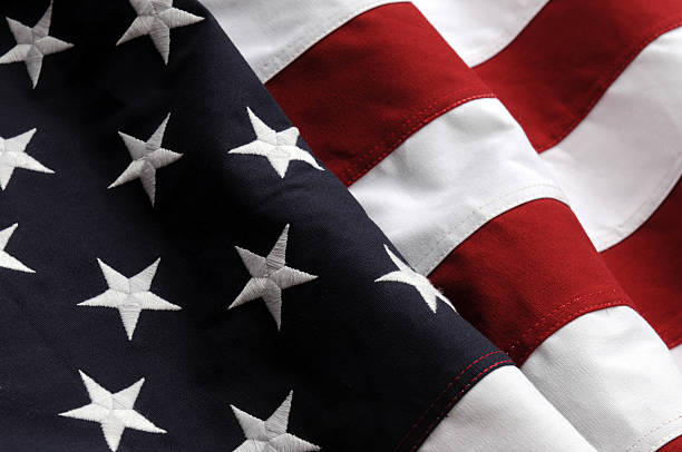 Close up of the United States flag stock photo