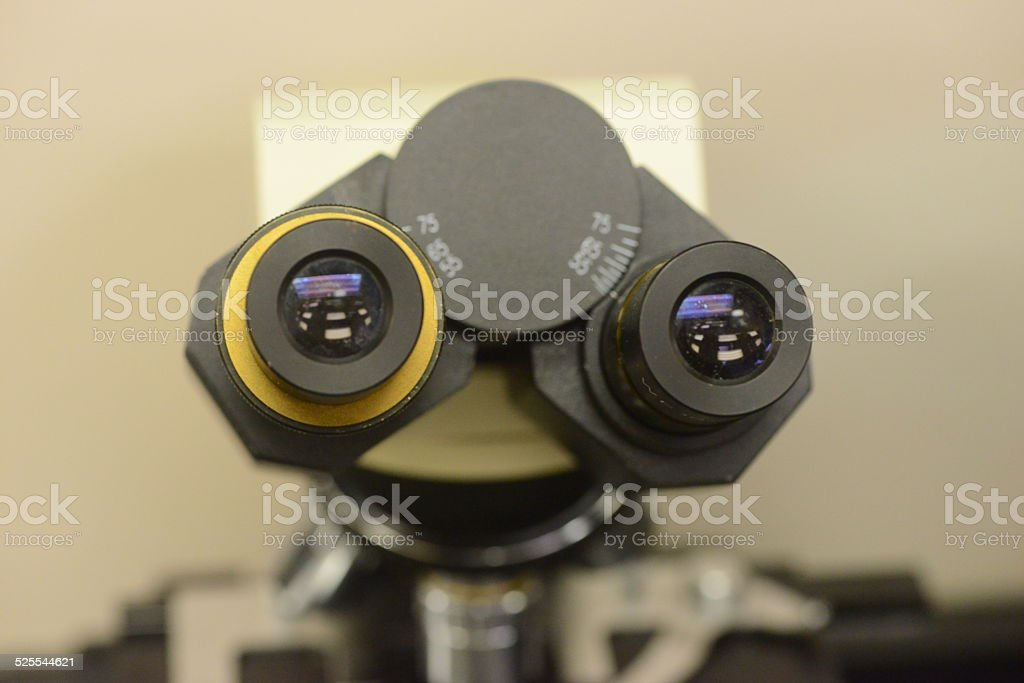 close up of the viewfinder on a microscope stock photo