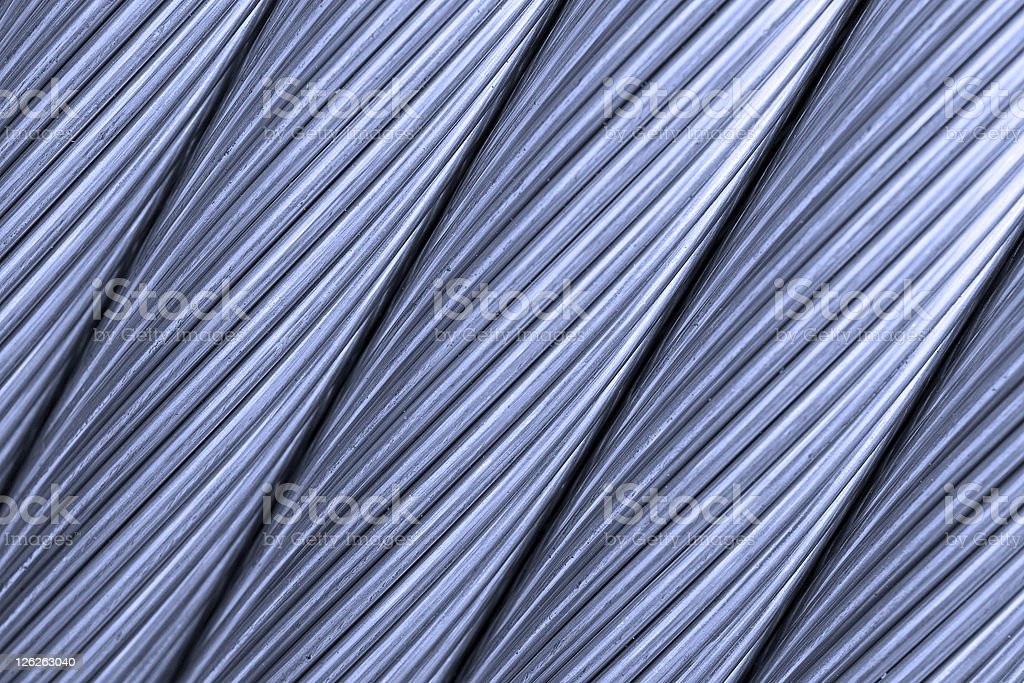 Close up of thick steel wire cable in a row royalty-free stock photo